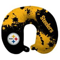Pittsburgh Steelers Splatter Polyester Snap Closure Travel Pillow - Black