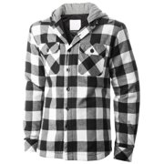 Ma Croix Mens Hooded Flannel Shirts Quilted Plaid Jacket