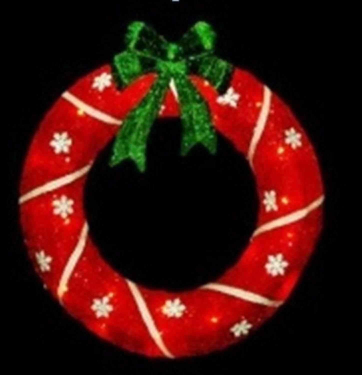 18  Lighted Sparkling Red Sisal Christmas Wreath Outdoor Decoration  sc 1 st  Walmart & 18