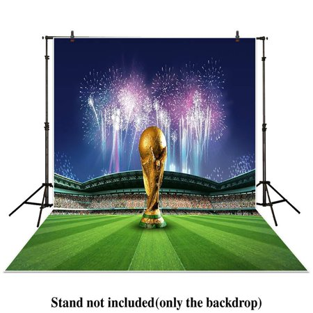 HelloDecor Polyster 5x7ft Photography Backdrop sport World Cup football soccer stadium celebrate fireworks background props photocall photobooth photo studio (Football Stadium Backdrop)