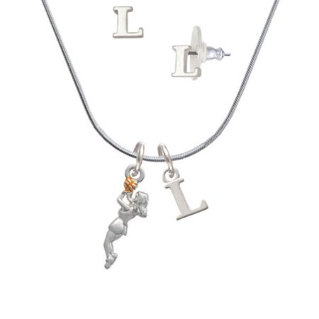 Basketball Player Girl - L Initial Charm Necklace and Stud Earrings Jewelry Set (Initial Balm)