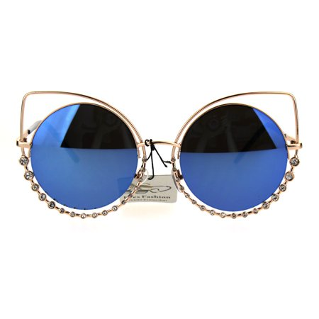 SA106 - Womens Rhinestone Jewelry Gothic Round Circle Lens Cat Eye Sunglasses  Gold Blue - Walmart.com af6b478df3
