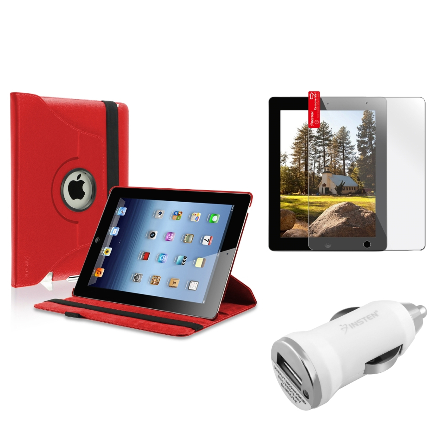 Insten Red 360 Magnetic Leather Case Protector Guard Car Charger for iPad 4/3/2 3G (Supports Auto Sleep/Wake)