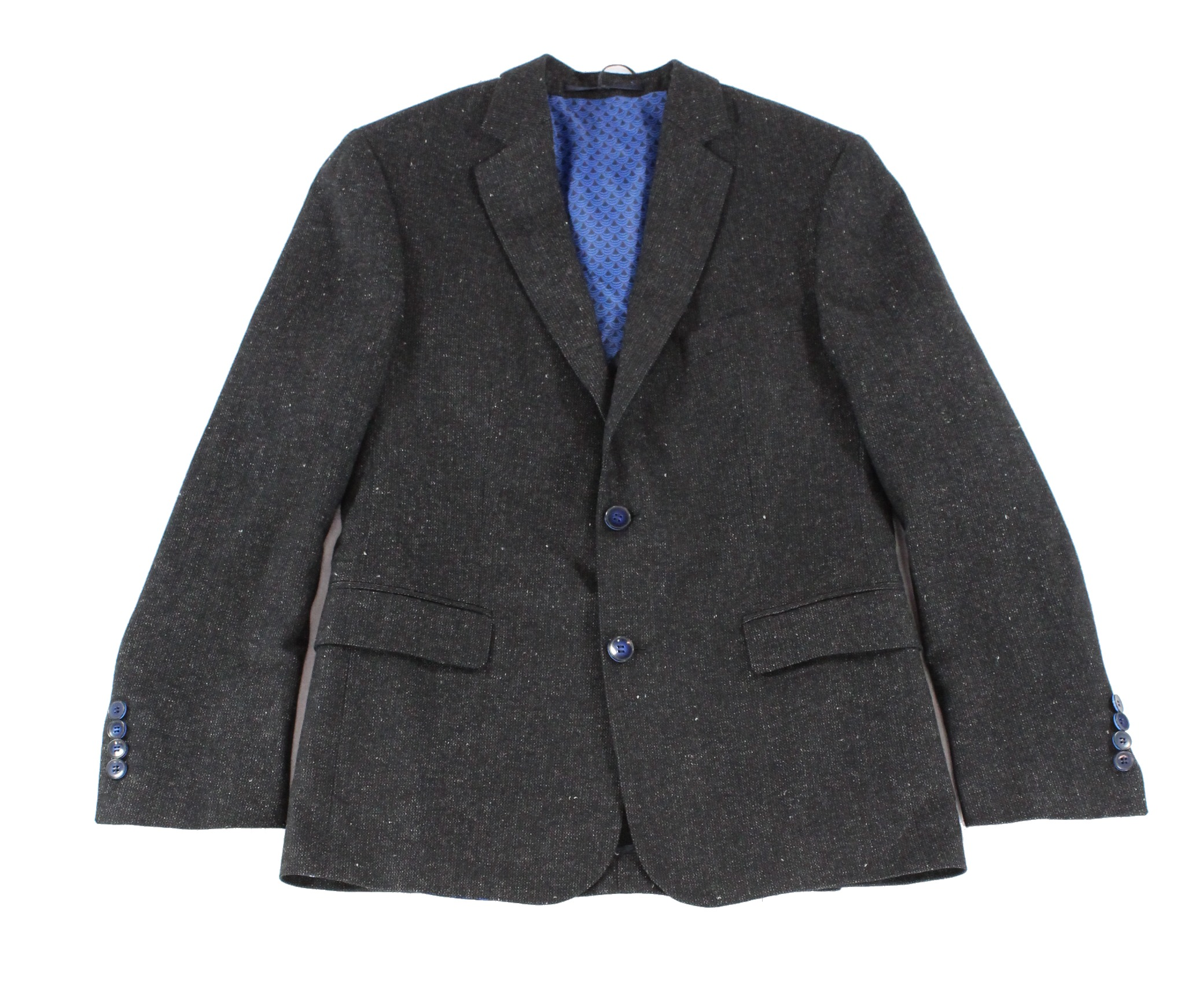 Duchamp New Black Mens Size 40 R Two Button Fleck Wool Blazer Jacket by Mens Wool Coats