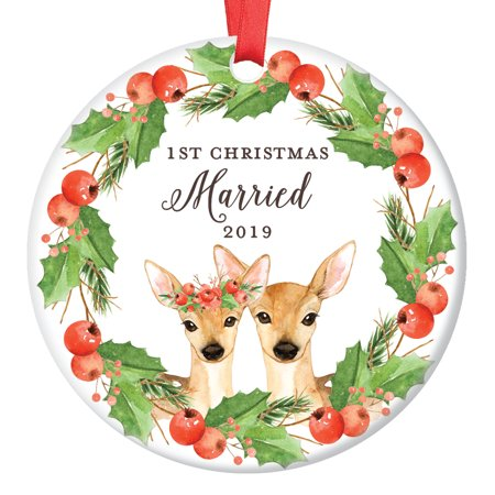Deer Christmas Ornament 2019, 1st Christmas Married Xmas Present for Husband & Wife First Stag Mr Mrs Floral Wreath Ceramic Porcelain Keepsake 3