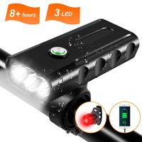 Rechargeable Bike Light,Headlight Free Taillight Set,1000 Lumens 3 LED Bicycle Front Lights,IPX5 Waterproof,3-Switch Modes, 360° Bracket,Portable Super Bright, Riding Hiking Camping Flashlight Safety