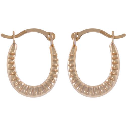10kt Gold Swirl Oval Hoop Earrings