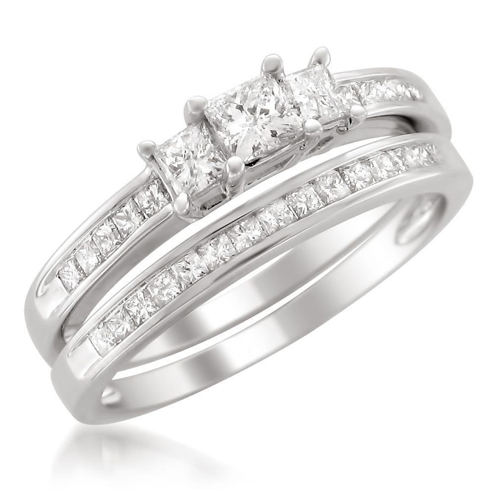 Montebello Jewelry Montebello Platinum 1ct TDW Princess-cut Diamond Bridal Ring Set by Overstock