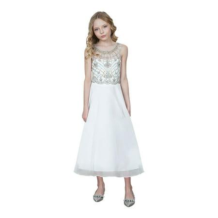 Girls Ivory Jeweled Bodice Chiffon Long Junior Bridesmaid Dress