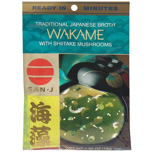 San-J Japanese Wakame With Shiitake Mushrooms Soup, 0.56 oz (Pack of 36)