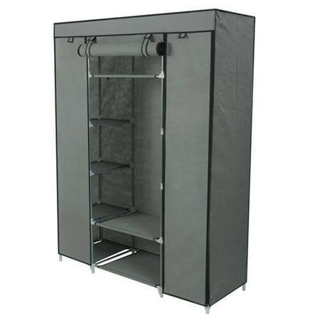 Zimtown Gray Portable Closet Storage Organizer Clothes Wardrobe Rack With Shelves