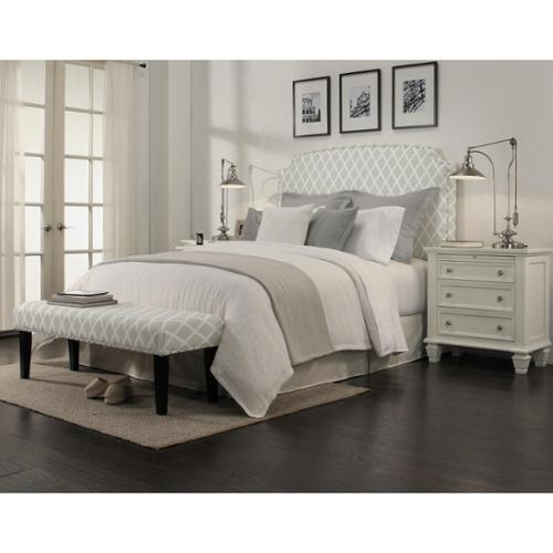 Seahawk Designs Grosvenor Gray Diamond Headboard-Bench Collection