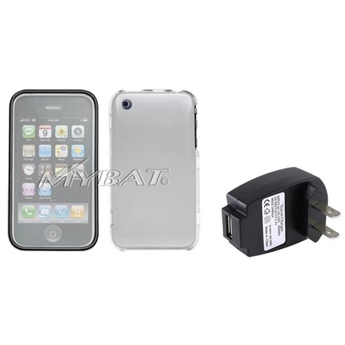 Insten T-Clear Phone Case (w/ Lens) (WL-TR208) For iPhone 3G/3GS+USB AC Wall Charger