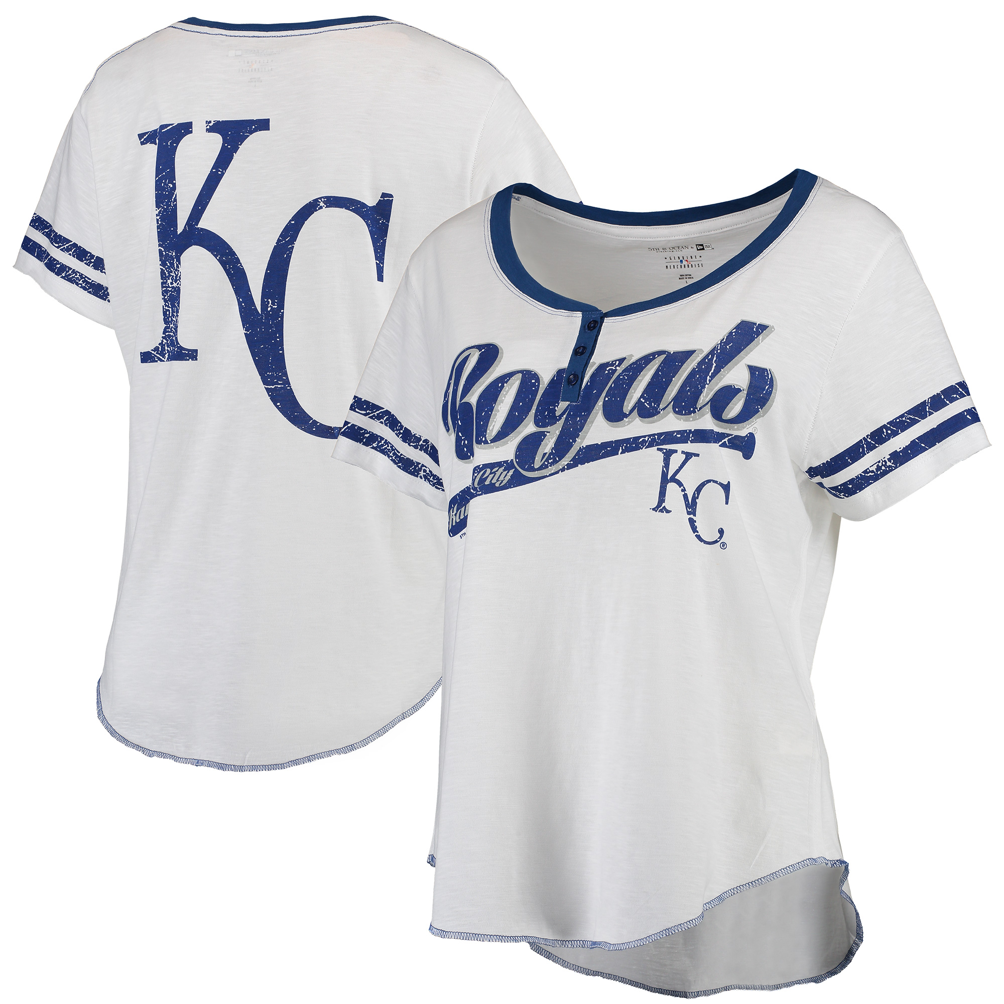 Kansas City Royals 5th & Ocean by New Era Women's Slub Jersey T-Shirt - White