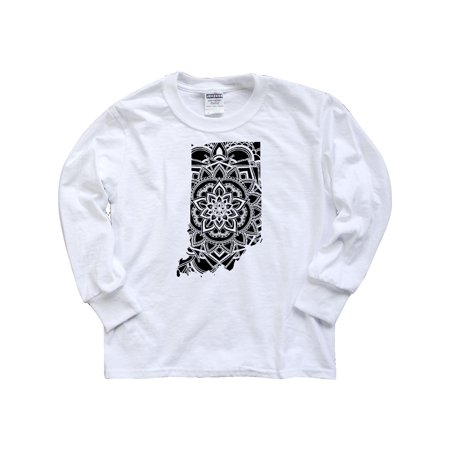Indiana Silhouette Mandala Youth Long Sleeve T-Shirt