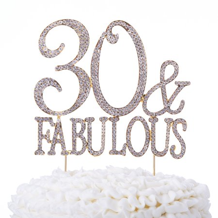 30 & Fabulous Cake Topper 30th Birthday Party Supplies Gold Decoration Toppers (Gold) (30 Birthday)
