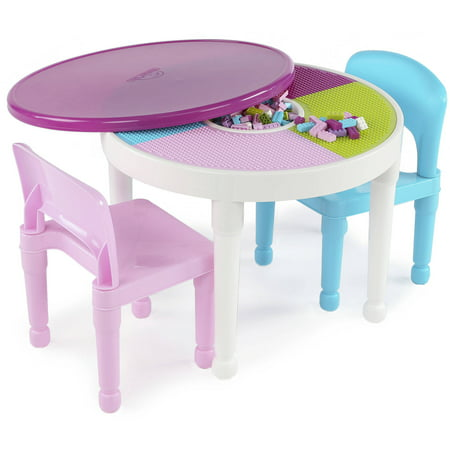 Round Plastic Construction Table With 2 Chairs & Cover - Bright Colors - Tot Tutors