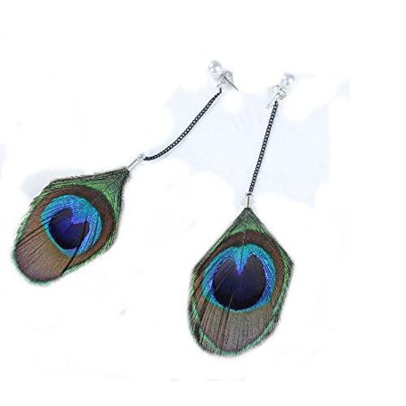 Sexy Sparkles Womens Teens Girls Bohemian Peacock Feather Stud Dangling Long Earrings