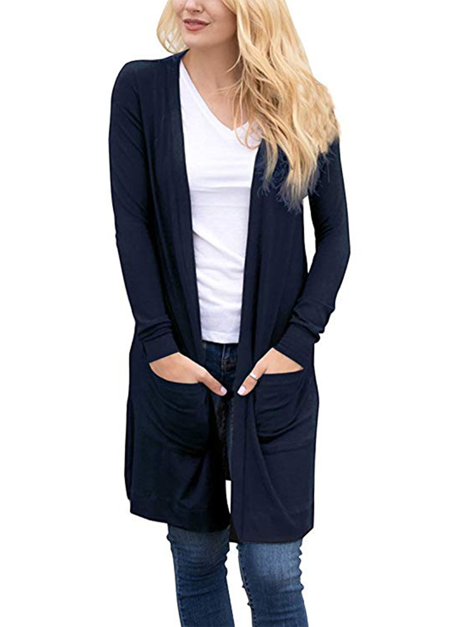 New Ladies Open Front Long Sleeve Knitted With 2 Pocket Cardigan Jumper Coat Top