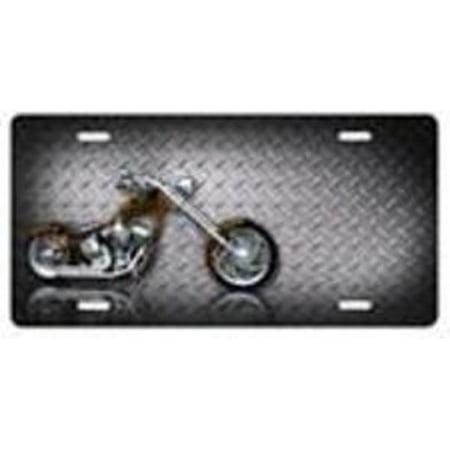 Motorcycle (Chopper) on Diamond License Plate