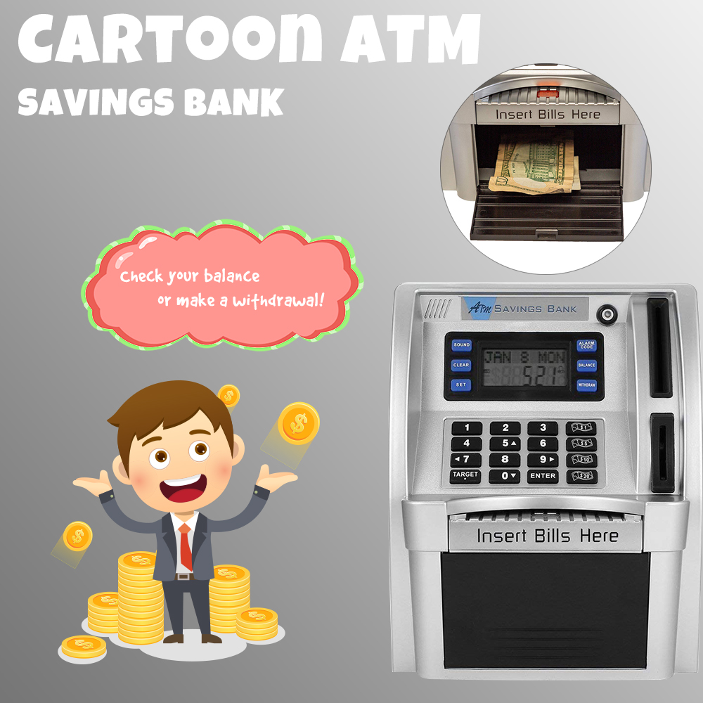 Cartoon ATM Savings Bank Personal ATM Cash Coin Piggy Bank Machine by