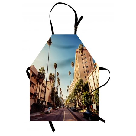 Urban Apron A Street in Beverly Hills California Palm Trees Houses Famous City Photo, Unisex Kitchen Bib Apron with Adjustable Neck for Cooking Baking Gardening, Pale Blue Peach Green, by (07 Beverly Hills Peach)