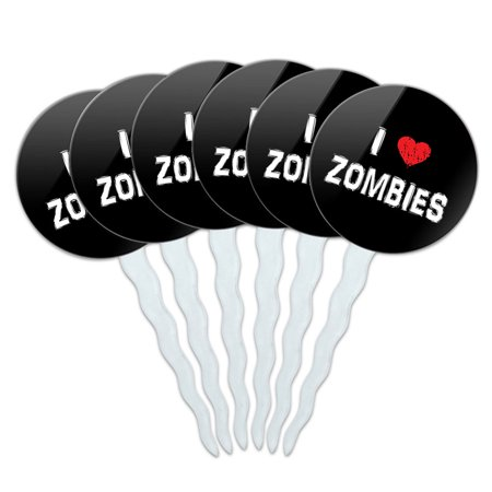 I Love Zombies Stylish Cupcake Picks Toppers - Set of 6 (Zombie Cupcake)
