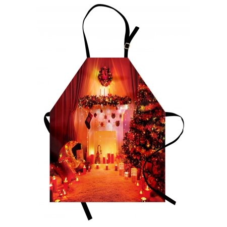 Christmas Apron Noel Room Design with Bunch of Holly Yule Objects Illuminated Fantasy Eve Picture, Unisex Kitchen Bib Apron with Adjustable Neck for Cooking Baking Gardening, Orange, by Ambesonne (Holly Apron)