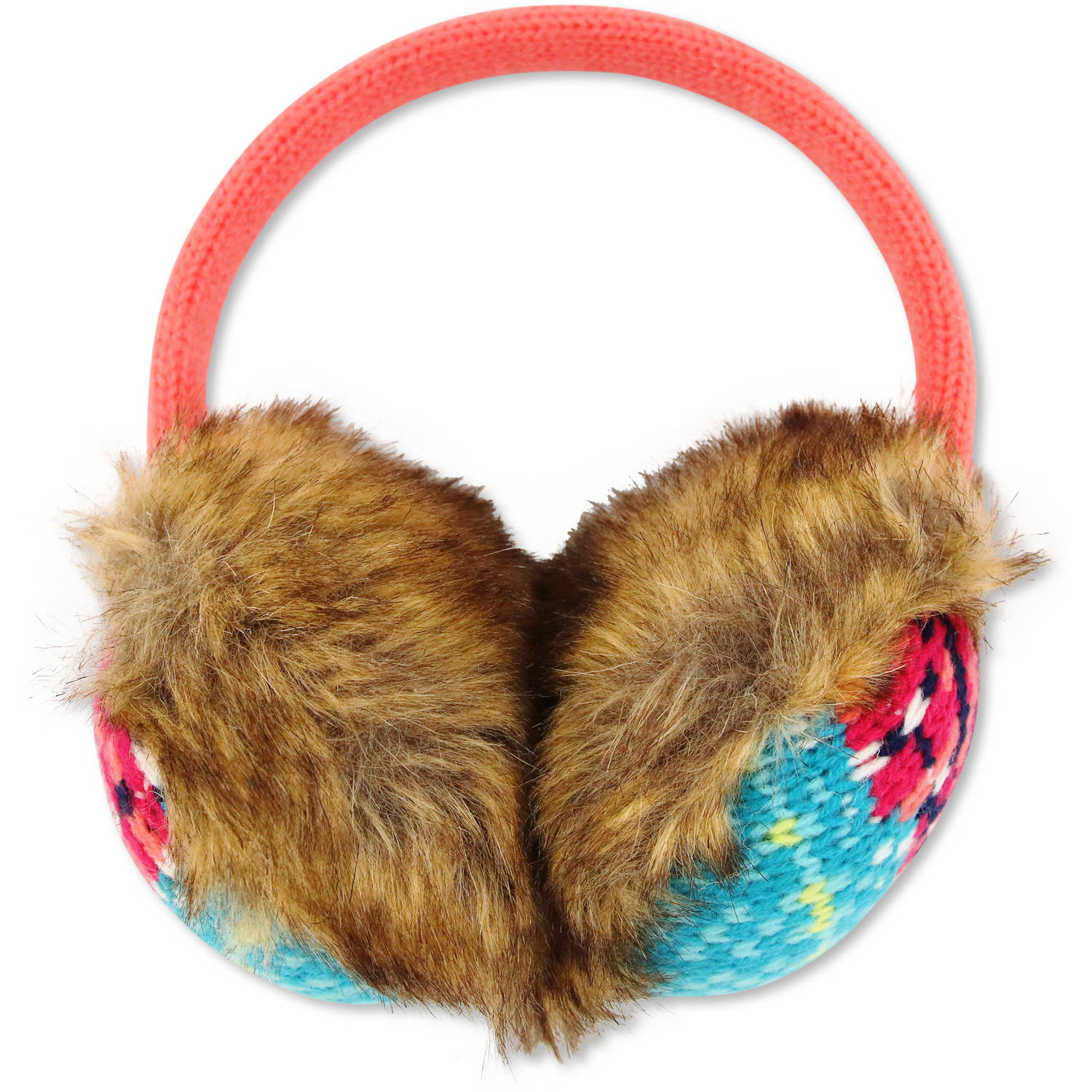 Image of ABG Accessories Girls Novelty Plush Faux Fur And Fair Isle Acrylic Knit Earmuff
