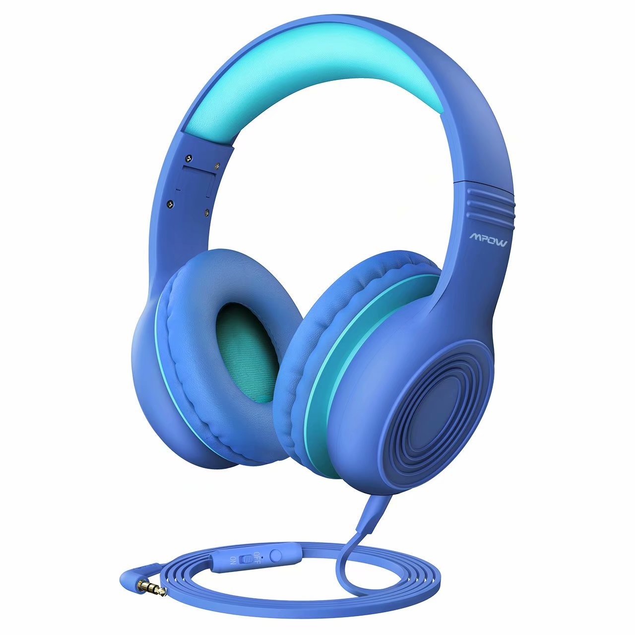 Mpow CH6 Kids Headphones for Baby to Teen, Switchable Volume Limited Safe Headphones w/Sharing Function for Children Boys Girls, Foldable Over-Ear/On-Ear Headset w/Mic for School/PC/Cellphone-Blue