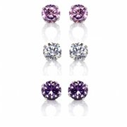 Precious Stars SEZ6RP9251W Set of 3 Pair Sterling Silver 6 mm.  Pink, Purple and Clear Cubic Zirconia Earring Studs