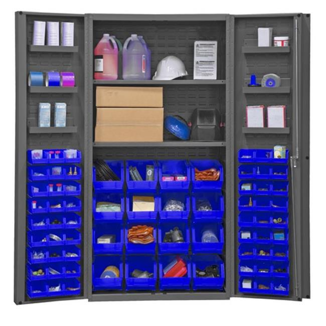 14 Gauge Lockable Cabinet with 64 Blue Hook on Bins & 2 Adjustable Shelves & 6 Door Shelves, Gray - 36 x 24 x 72 in.