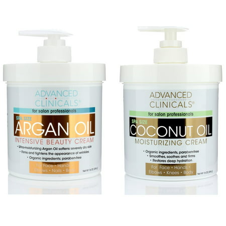 Advanced Clinicals Coconut Oil Cream and Argan Oil Cream Set. Value skincare set contains best-selling Coconut Oil and Argan Oil. Anti-aging creams for face, hands, body. Two spa size 16oz