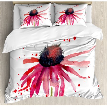 Watercolor Queen Size Duvet Cover Set, Summer Wildflower Blowing in the Wind Red Spotted Background Nature Inspired, Decorative 3 Piece Bedding Set with 2 Pillow Shams, Pink Black, by - Windy Background