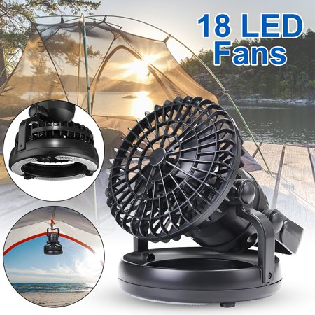 Portable campinglamp 2in1 18 LED Camping Lantern Ceiling Fan Tent Light Lamp Camping Outdoor Gear Equipment ()