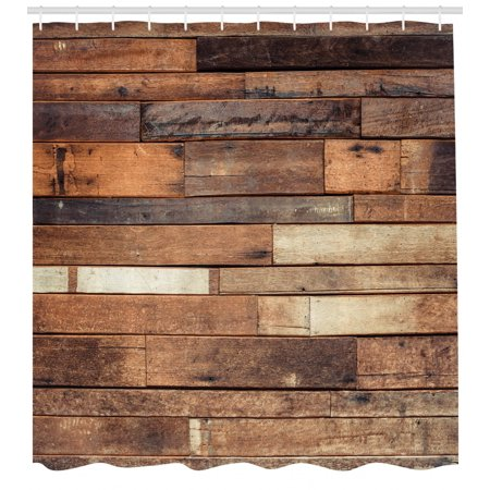 (Wooden Shower Curtain, Rustic Floor Planks Print Grungy Look Farm House Country Style Walnut Oak Grain Image, Fabric Bathroom Set with Hooks, Brown, by Ambesonne)