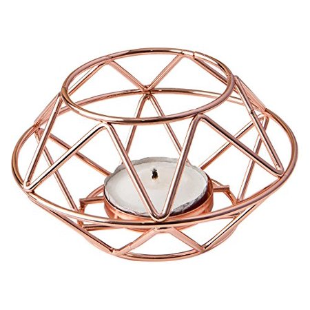 8742 Geometric Design Rose Gold Metal Tealight Candle Holder, Geometric design rose gold metal tea light candle holder By Fashioncraft