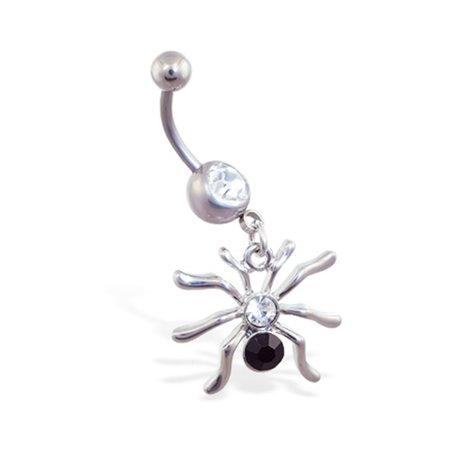 Navel Ring With Dangling Jeweled Spider](Jeweled Spider)