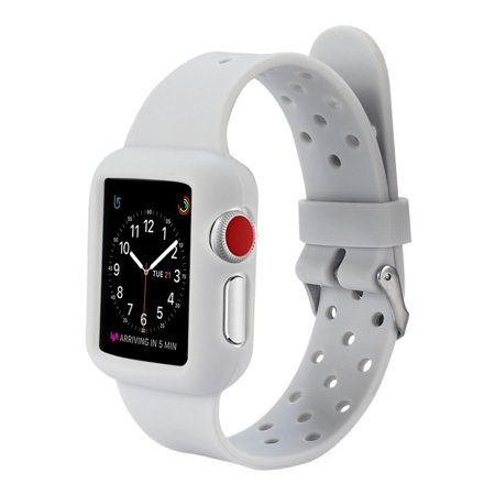 Apple Watch Band 42MM, Premium High Quality Soft Silicone Replacement Band for Apple Watch Series 3, Series 2, Series 1, Sport Edition - Grey Time for a little style and protection for your Apple Watch! Constructed from a custom high-performance Medical grade silicone, the Watch Band is durable and strong, yet surprisingly soft for a perfect fit every time! Easy to install & Remove. Compatible with all 42mm Apple Watch Collections and Magnetic charging cable.