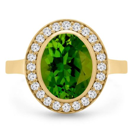 Majesty Diamonds MD190413-4 3.75 CTW Oval Green Peridot Bezel Set Halo Cocktail Ring in 14K Yellow Gold - Size 4