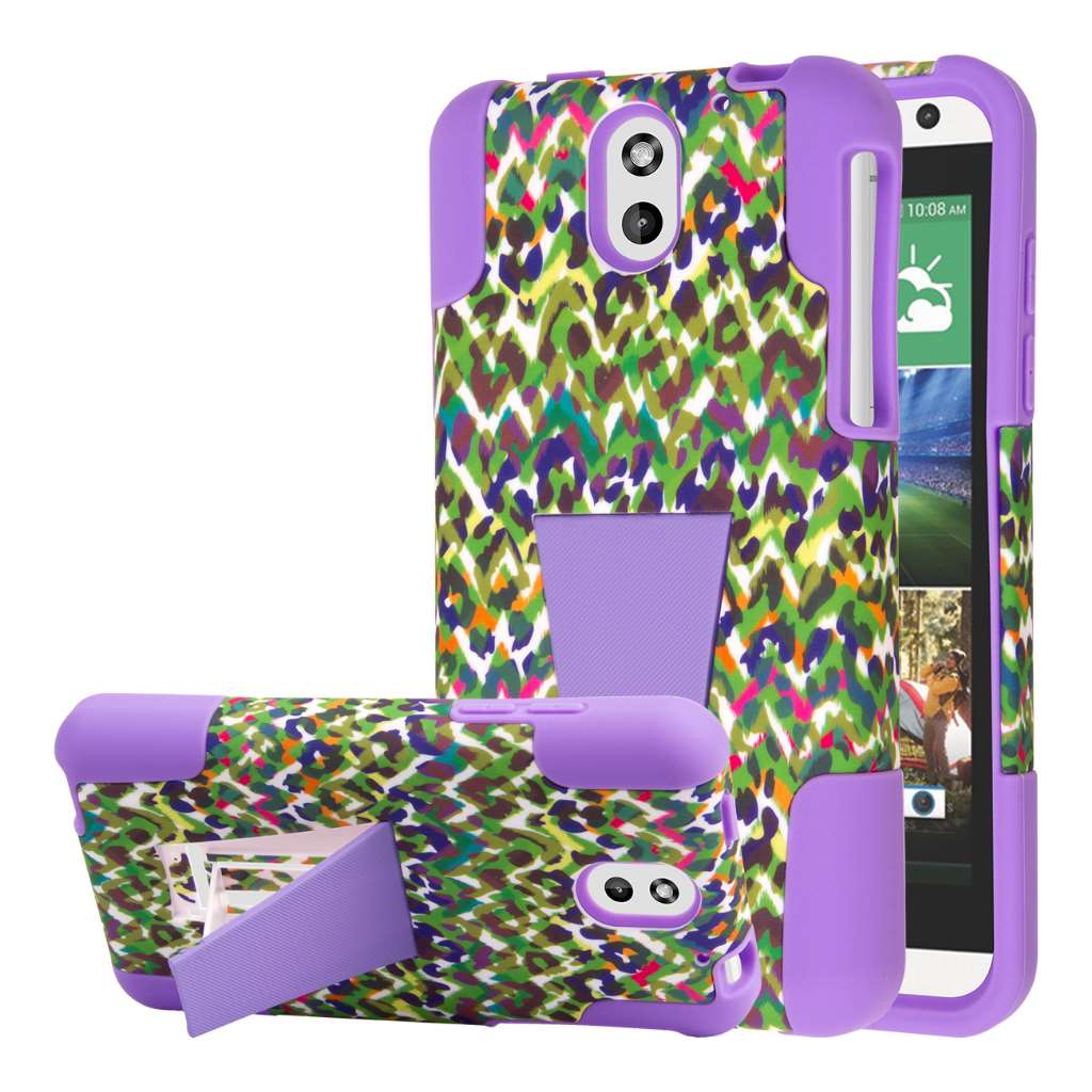 HTC Desire 610 Case, MPERO IMPACT X Series Dual Layered Tough Durable Shock Absorbing Silicone Polycarbonate Hybrid Kickstand Case for Desire 610 [Perfect Fit & Precise Port Cut Outs] - Purple Rainbo