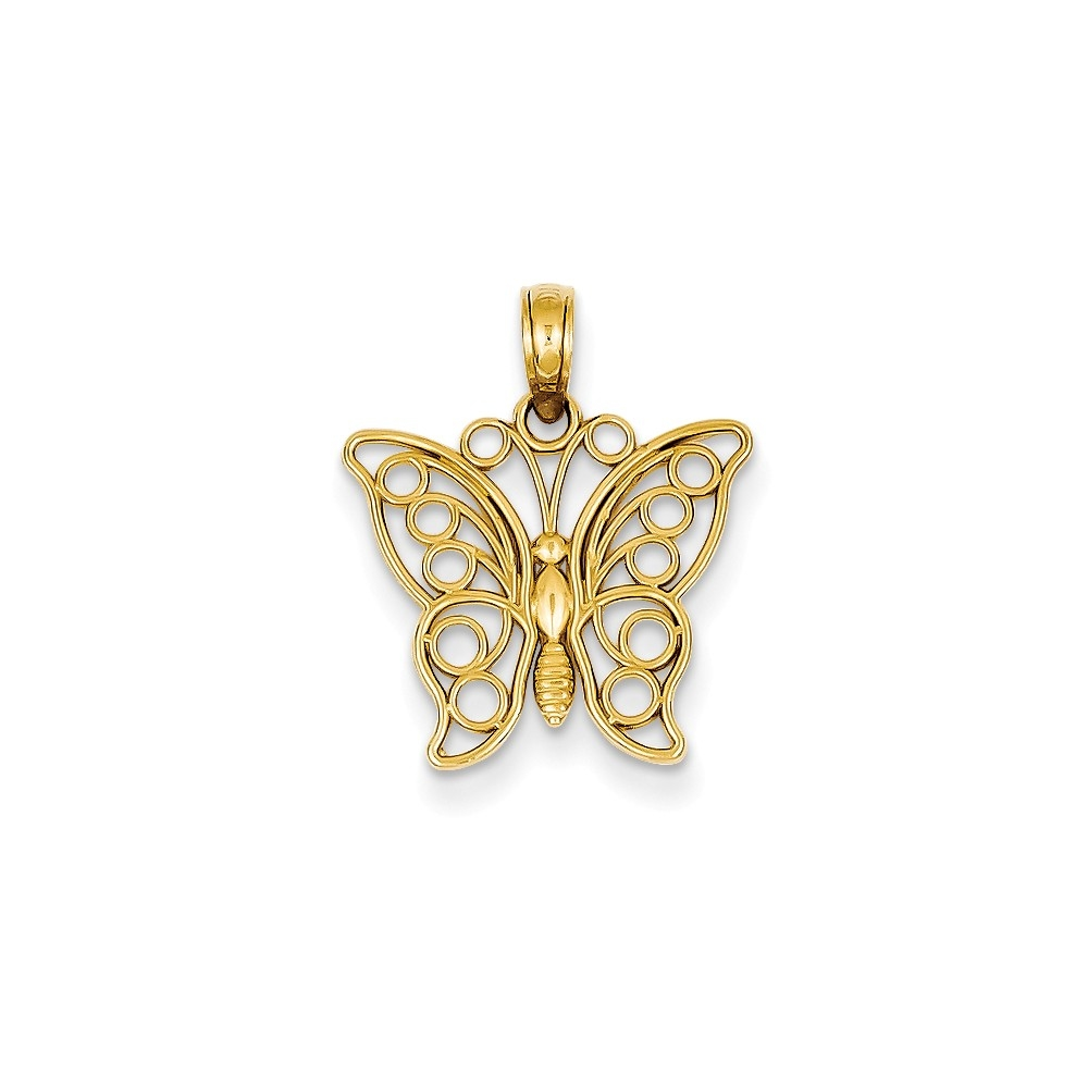 14k Yellow Gold Cut-out Butterfly Large Pendant