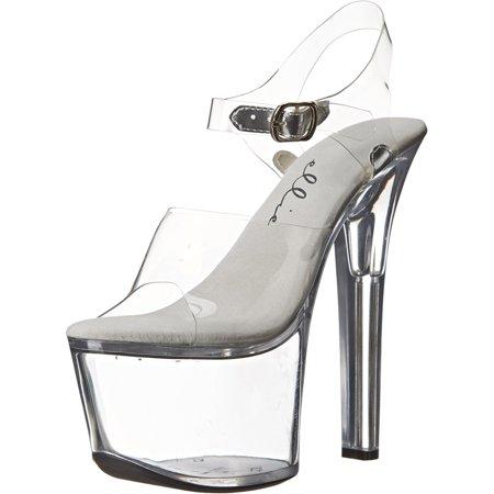 Womens Sexy Shoes High Heels Platform Sandals Clear Platform Black or - Clear Platform Pumps