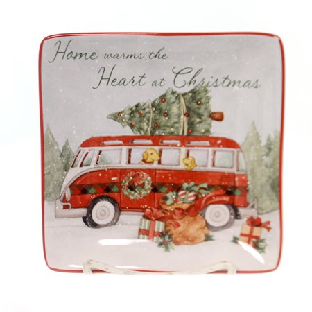 Tabletop HOME FOR CHRISTMAS CANAPE PLATE Ceramic Puppy Dog Tree 22791 Bus