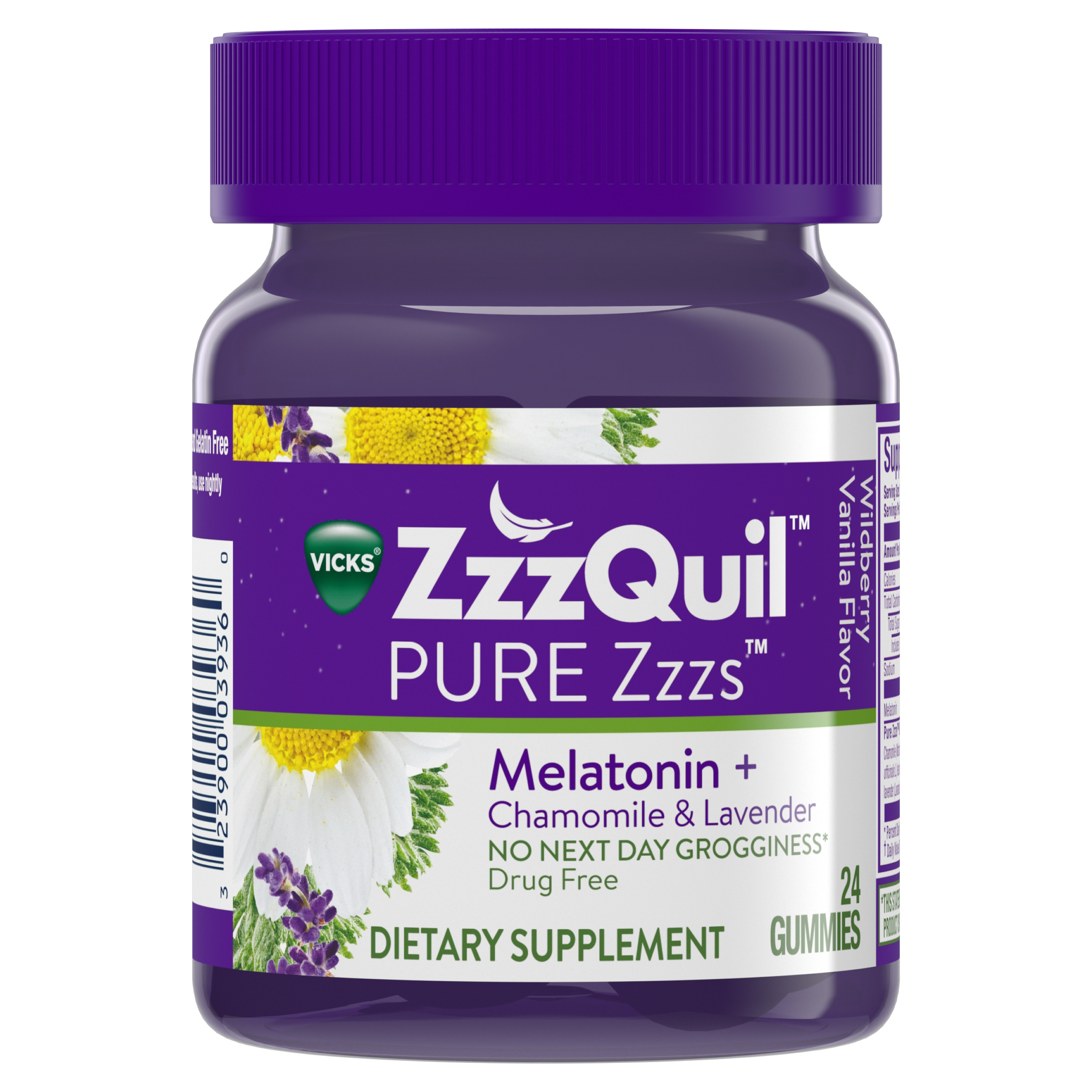 PURE Zzzs Melatonin Natural Flavor Sleep Aid Gummies with Chamomile & Lavender by Vicks ZzzQuil, 1mg per gummy, 24 ct
