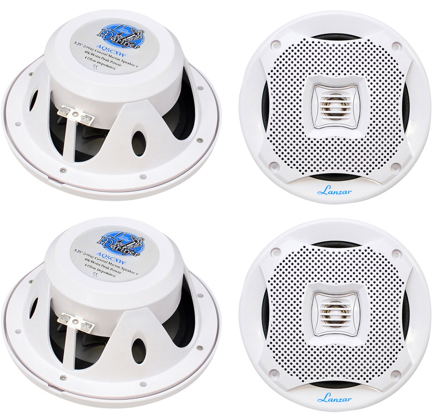 "4) LANZAR AQ5CXW 5.25"" 800W 2-Way Marine Boat Speakers Water Resistant White"