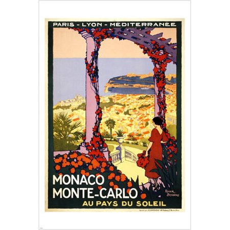 Vintage Monaco Monte Carlo Travel Poster 24X36 Colorful Romantic