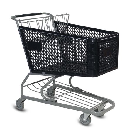Large Plastic Shopping Cart - Black This is a large plastic shopping cart. It is ideal for supermarkets and large liquor stores. It features 5  non marking poly wheels and every shopping cart comes with a child seat and a seat belt. This is also a great order picking cart for warehouse use. The oval cut outs in the basket provide additional strength and a stylish look.