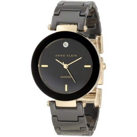 Anne Klein Women's AK-1018BKBK Black Ceramic Quartz Watch