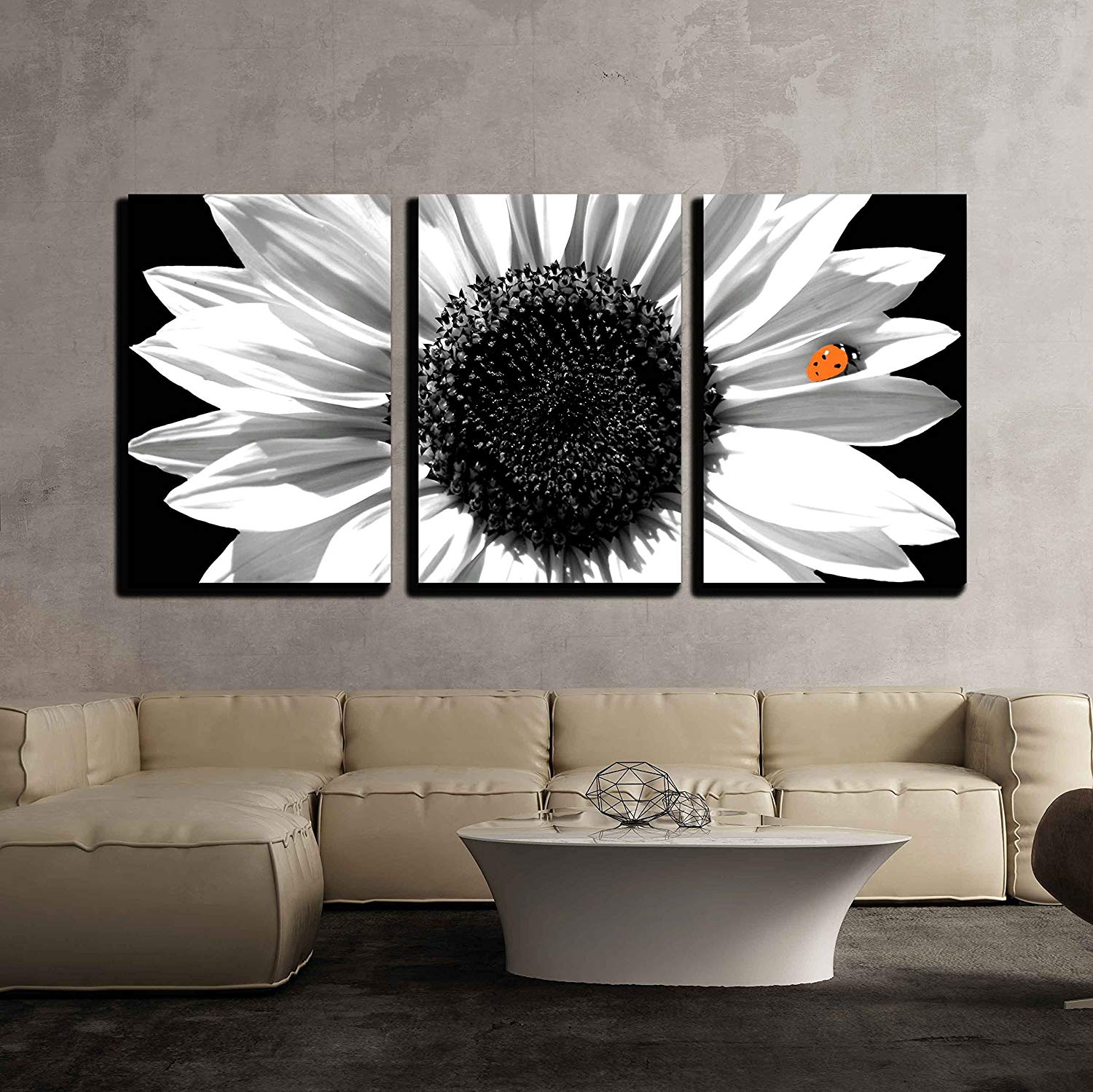 wall26-3 Piece Canvas Wall Art Sunflower in Black and White with Red Ladybug Modern Home Decor Stretched and Framed Ready to Hang